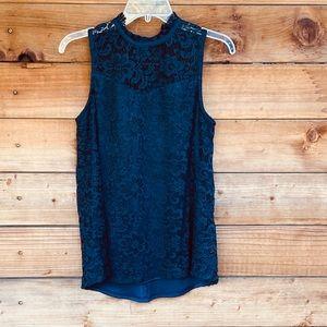 AB Studio sleeveless navy lace blouse